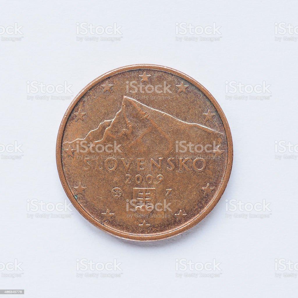 Slovak 5 cent coin stock photo