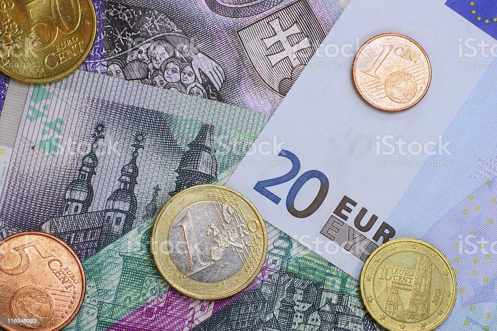 Slovak Koruna and Euro royalty-free stock photo