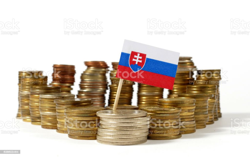 Slovakia flag waving with stack of money coins stock photo