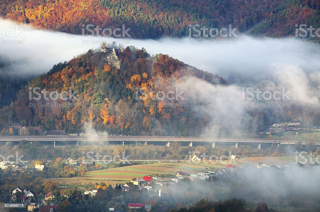 Slovakia landscape, ruin of castle Povazsky hrad stock photo