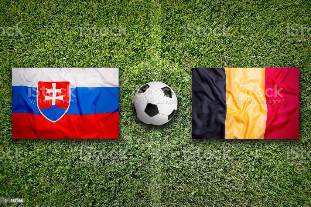 Slovakia vs. Belgium flags on soccer field stock photo