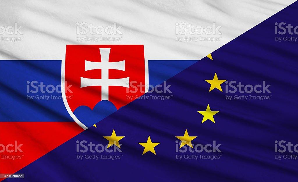Slovakian and European Union Flag stock photo