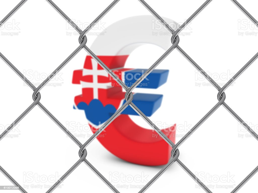 Slovakian Flag Euro Symbol Behind Chain Link Fence stock photo