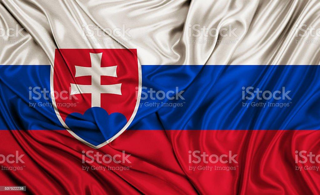 Slovakian flag - silk texture stock photo