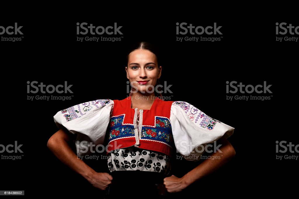 slovakian folklore dancer stock photo