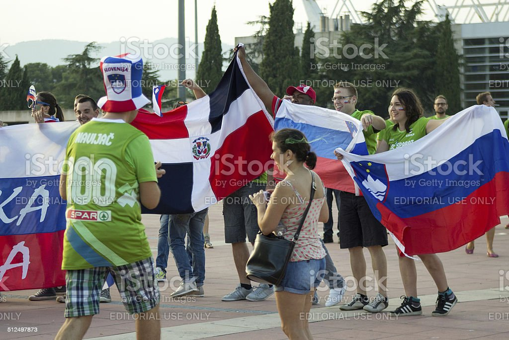 BARCELONA - SEPTEMBER 6: Slovenia and Dominicana fans before mat stock photo
