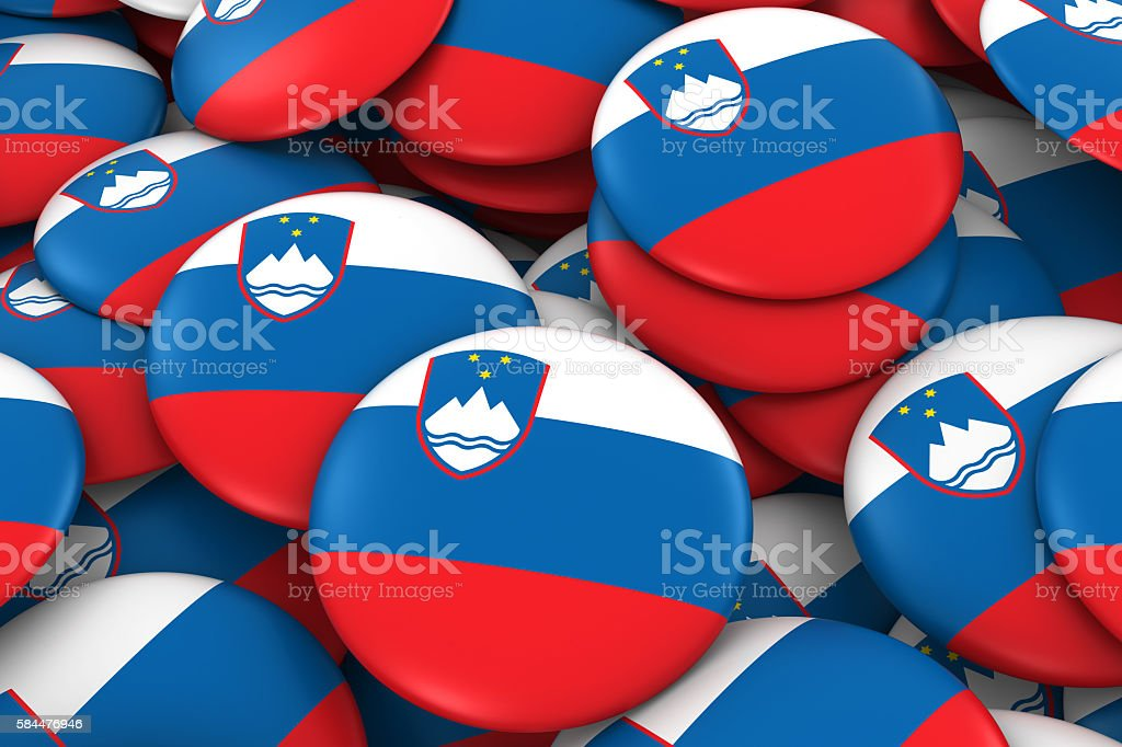 Slovenia Badges Background - Pile of Slovenian Flag Buttons stock photo
