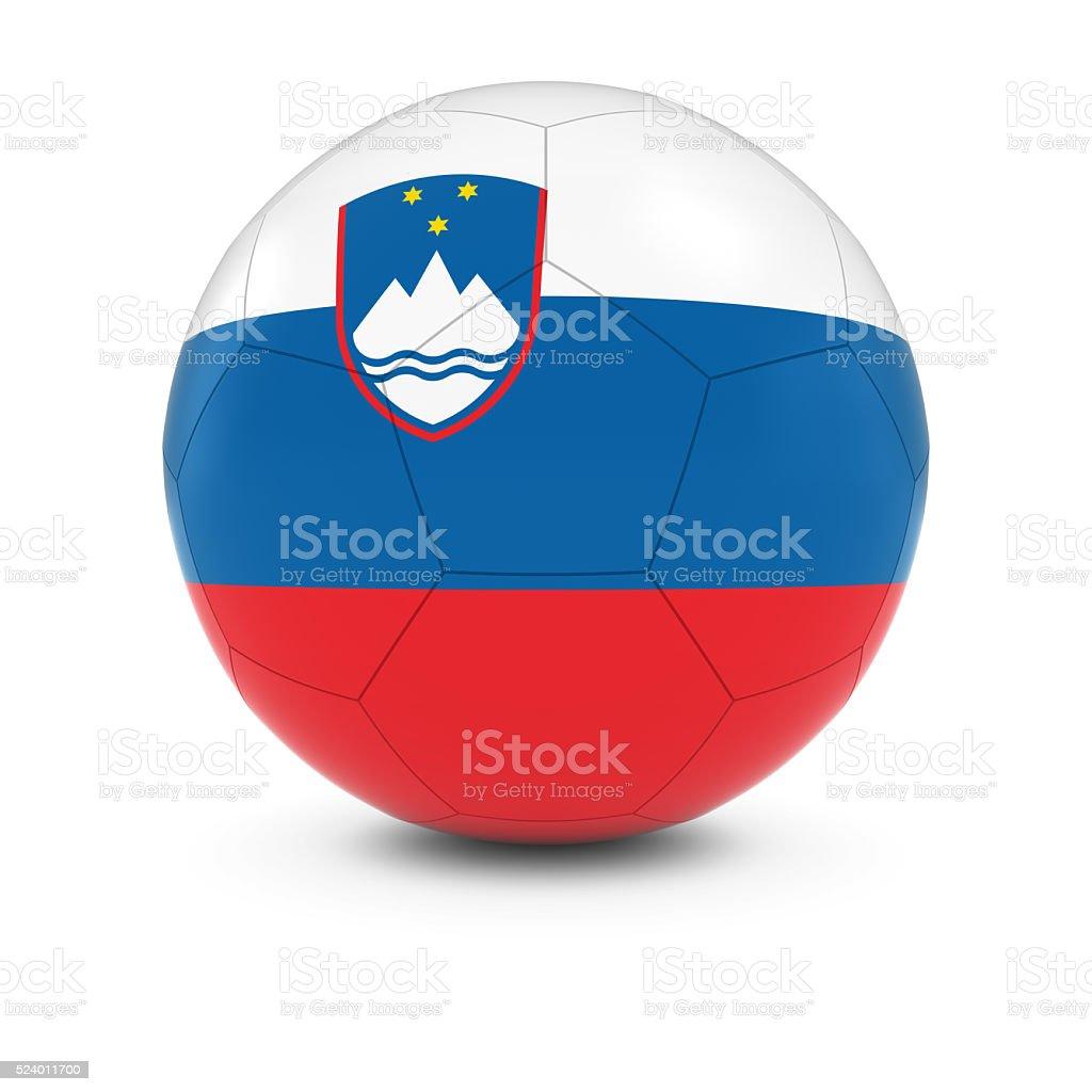 Slovenia Football - Slovenian Flag on Soccer Ball stock photo