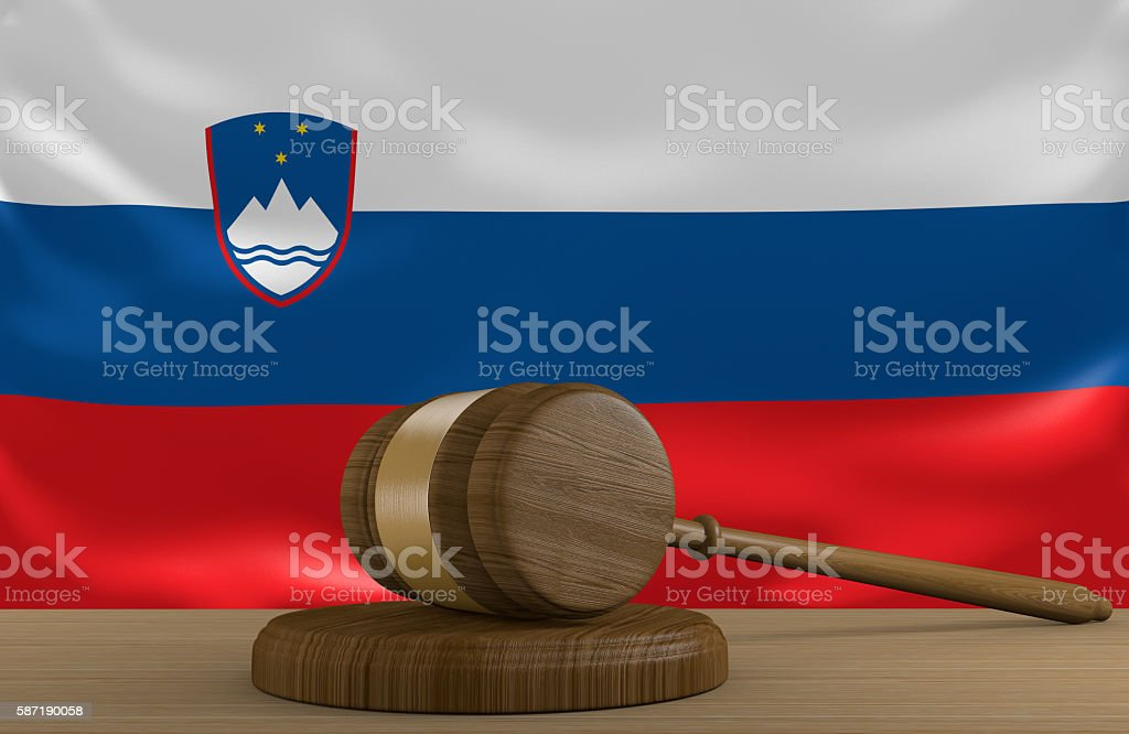 Slovenia law and court justice system with national flag stock photo