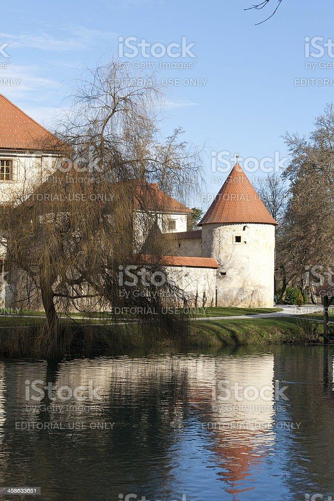 Slovenia - Otocec Castle reflection on Krka River stock photo