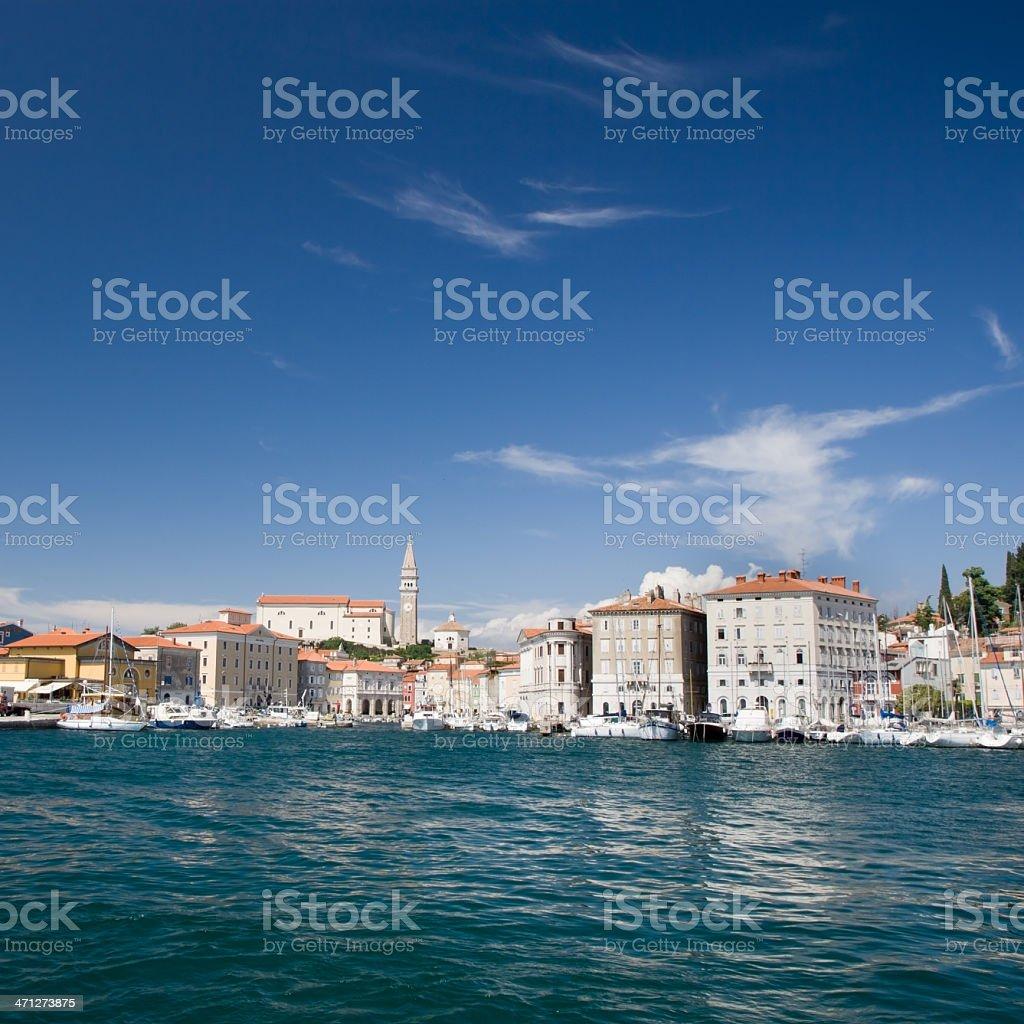 Slovenia Piran Harbor in Summer royalty-free stock photo