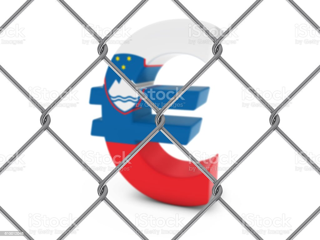 Slovenian Flag Euro Symbol Behind Chain Link Fence stock photo
