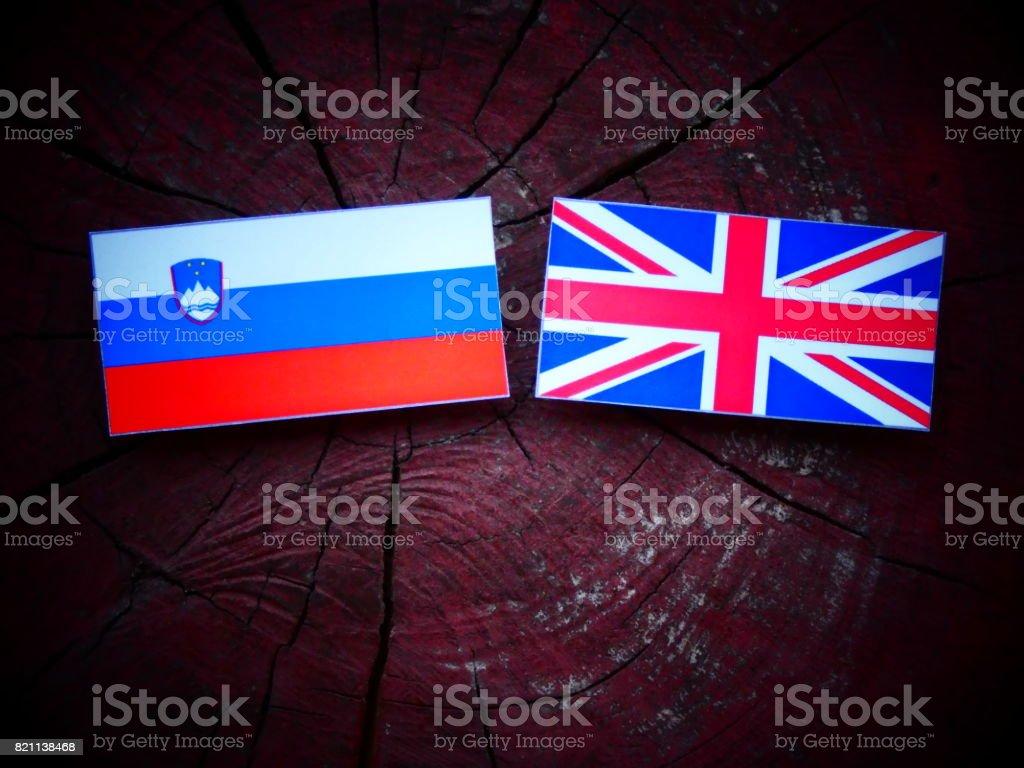 Slovenian flag with UK flag on a tree stump isolated