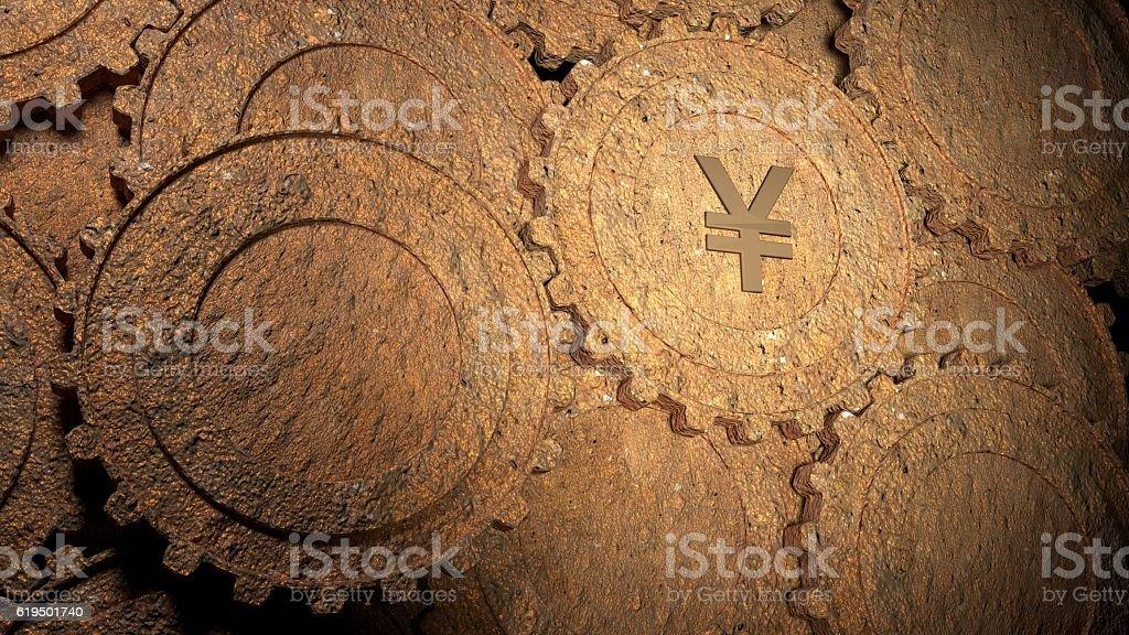 Slow chinese rusty economy concept stock photo