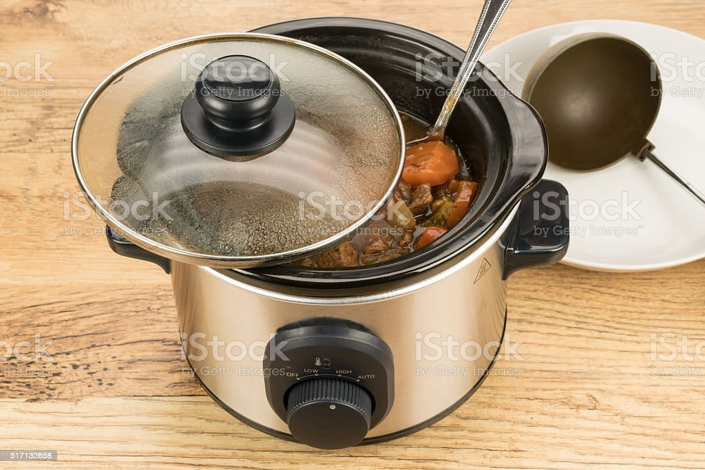 Slow cook crock pot meal stock photo