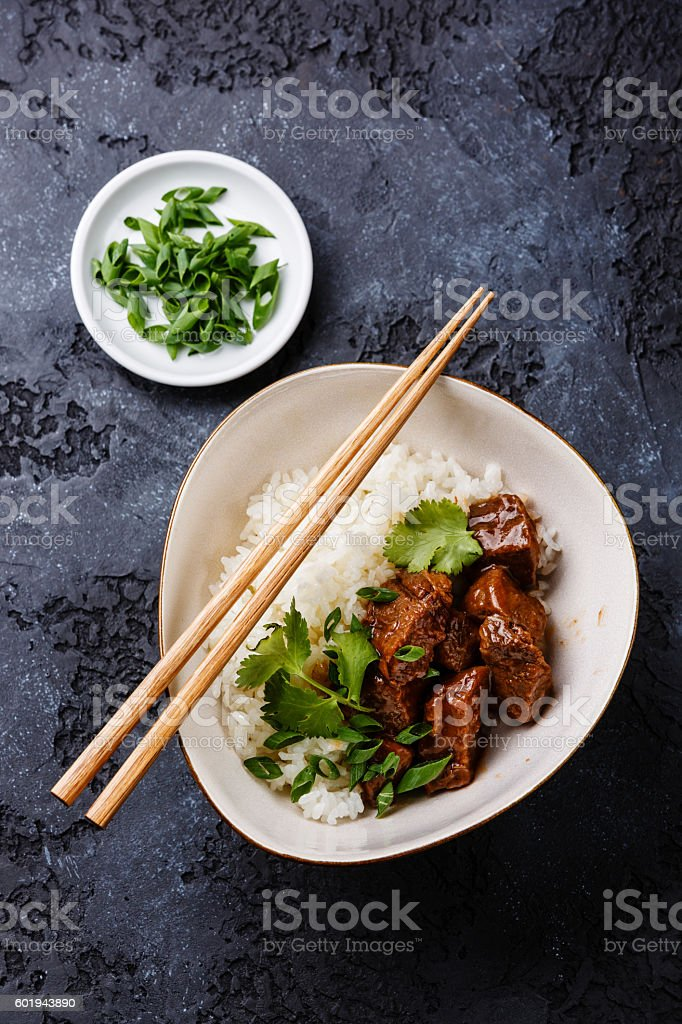 Slow cooked Beef with Rice stock photo