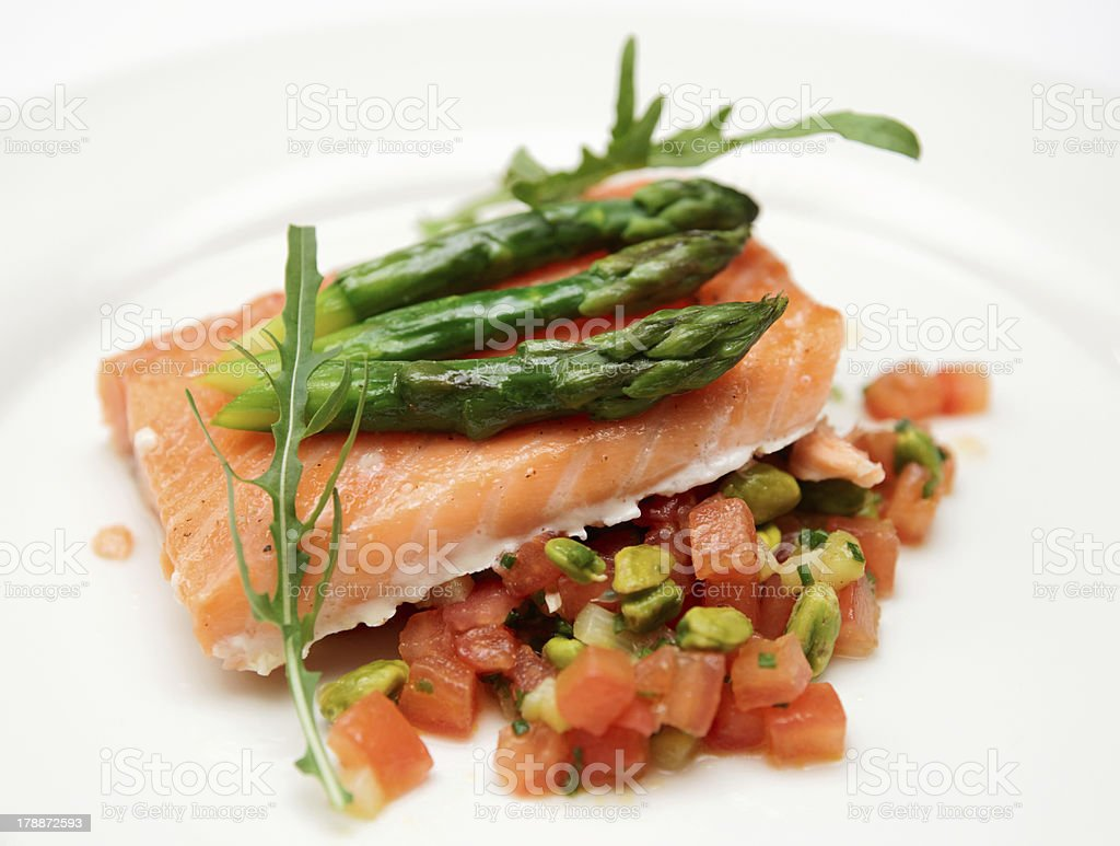 Slow cooked salmon steak royalty-free stock photo