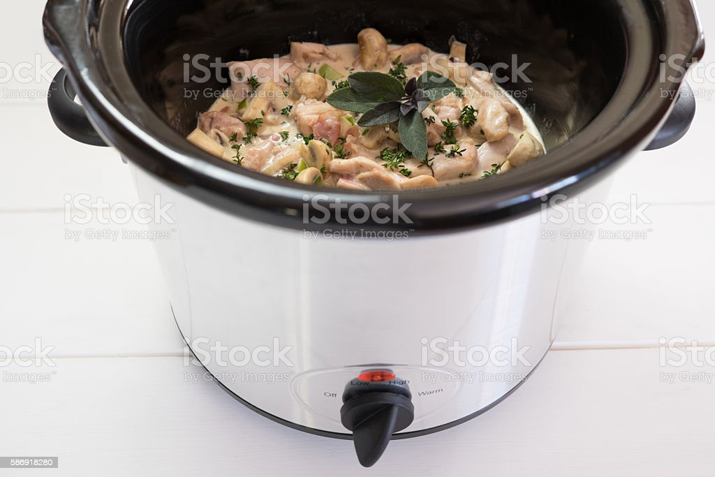 Slow cooker crockpot meal with chicken and herbs stock photo