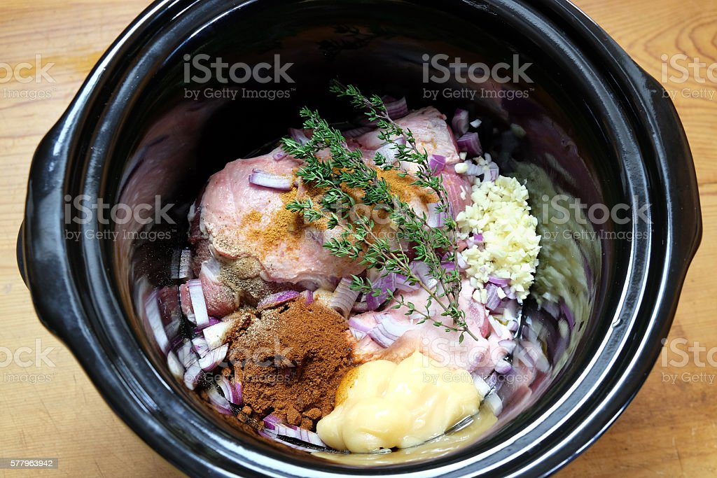 Slow cooker or crockpot meal ready for cooking stock photo