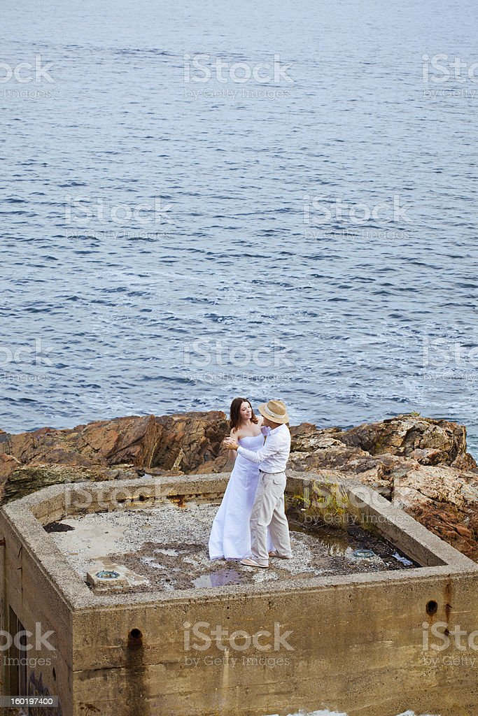 Slow dancing on top of concrete observation post royalty-free stock photo