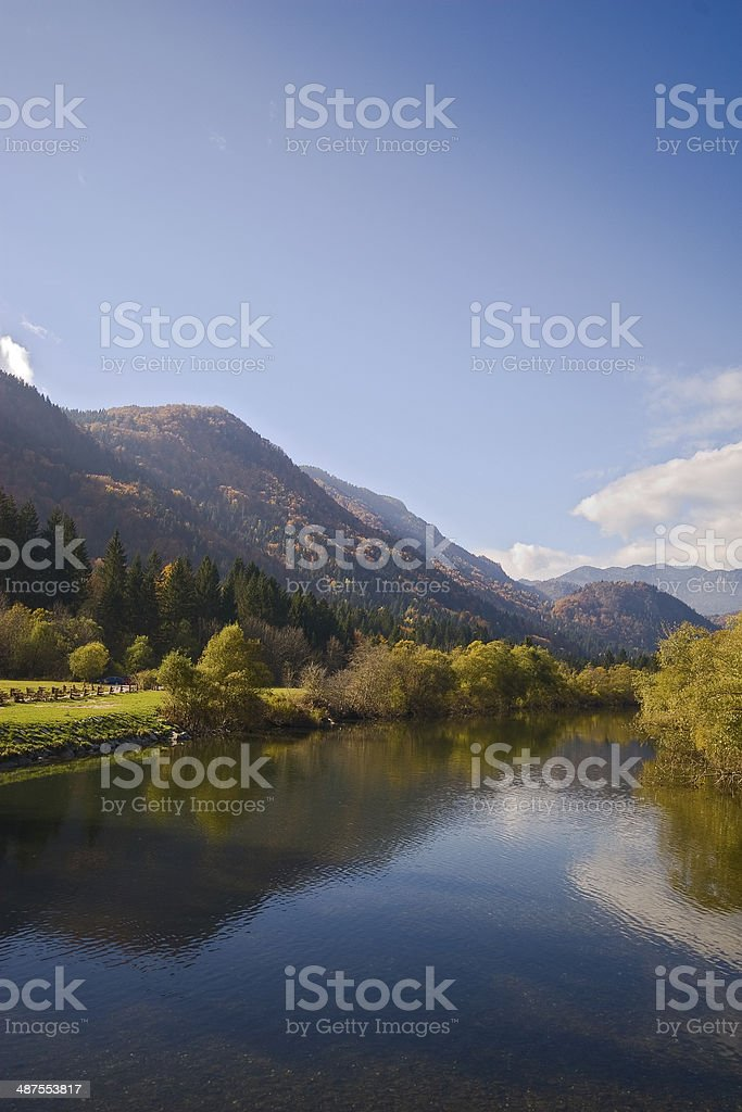 Slow flow of a river Sava stock photo