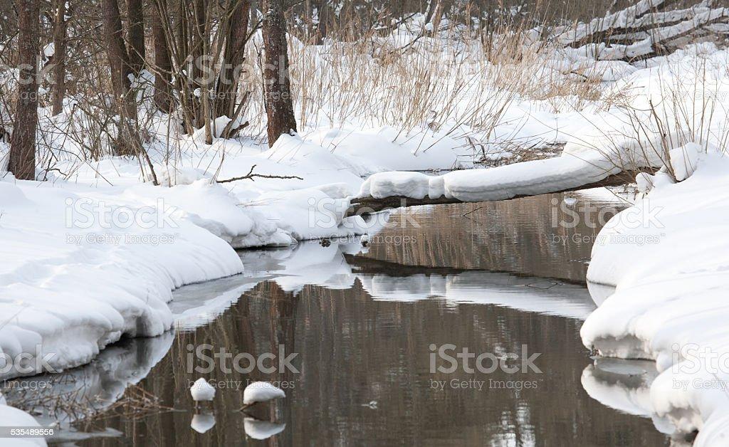 Slow flowing water in winter stock photo