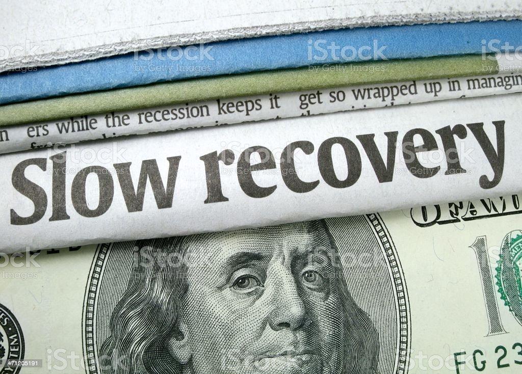 Slow Recovery Headline stock photo