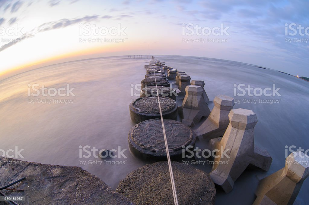 slow shutter seascape stock photo