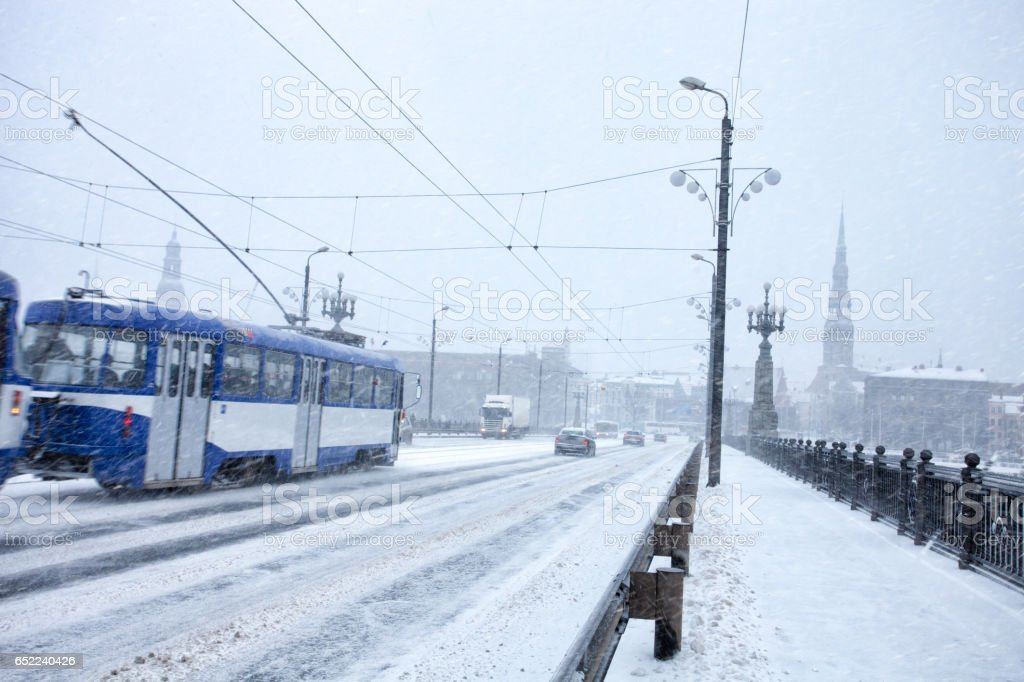 Slow traffic during heavy snow storm stock photo