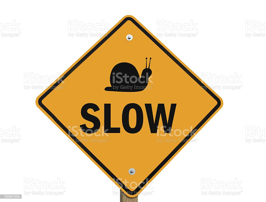 slow warning sign isolated royalty-free stock photo