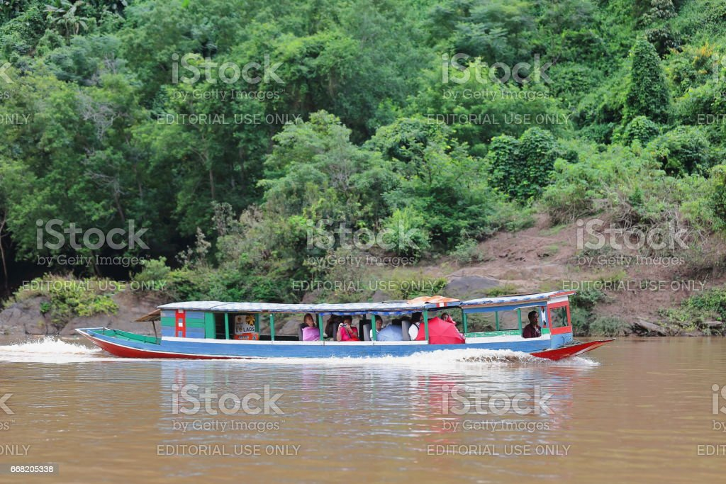 Slowboat-NamOu river-downstream from MuangKhua to NongKhiaw. Luang Prabang province-Laos. 3884 stock photo