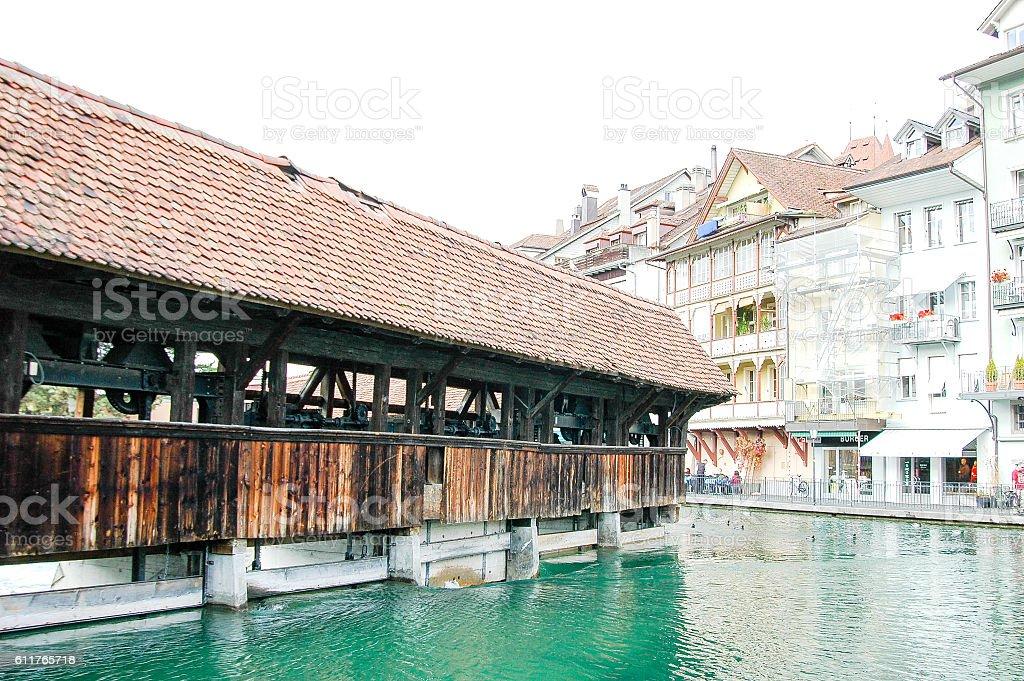 €€Sluice Bridge in Lakeside Town Thun, Switzerland stock photo