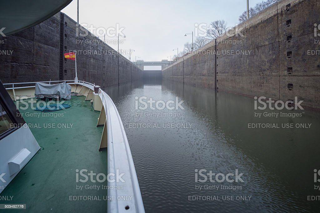 Sluice complex with water filled reservoir and sluice complex stock photo