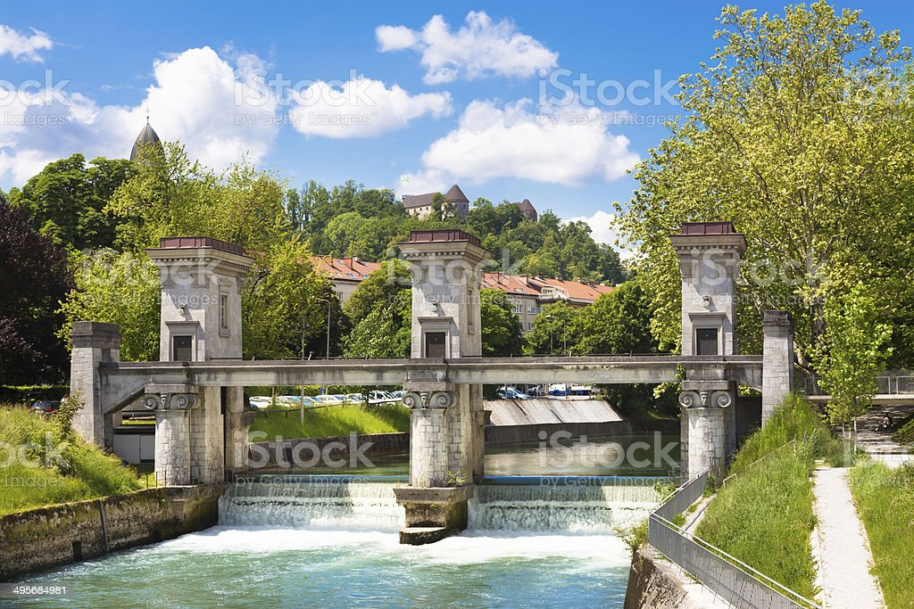 Sluice on the River Ljubljanica, Ljubljana, Slovenia. stock photo
