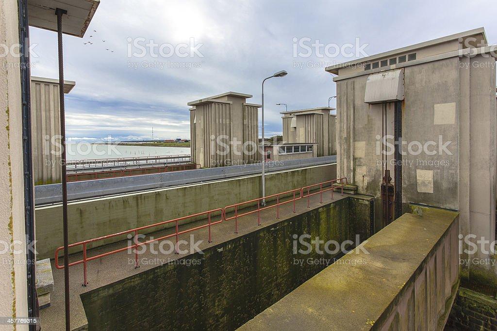 Sluice Stevinsluis in Dutch Delta Works stock photo
