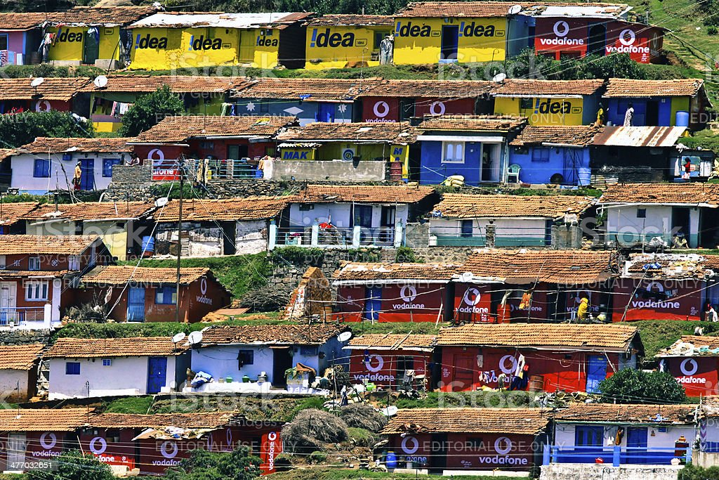 Slum area by the hillside in Ooty, India royalty-free stock photo