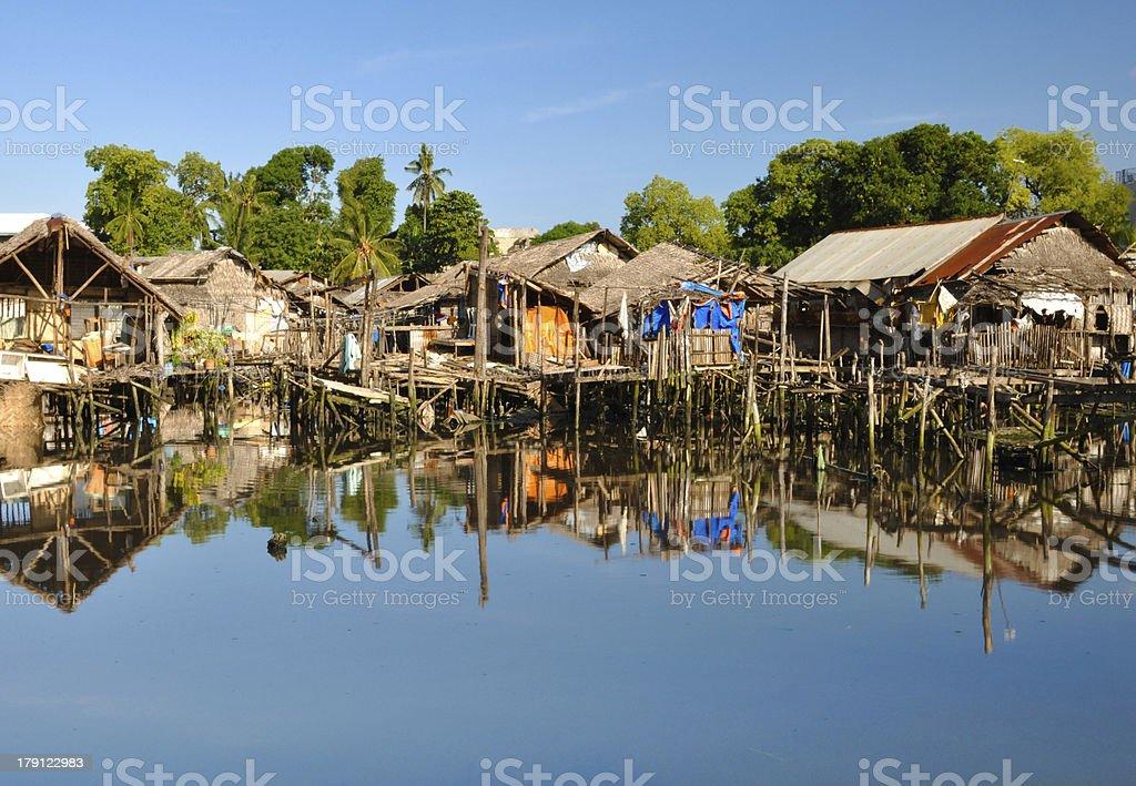 Slum Houses on Water royalty-free stock photo