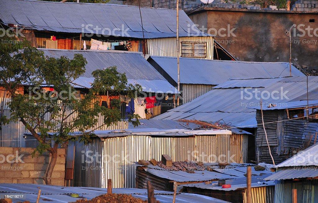 slum houses - zinc architecture stock photo