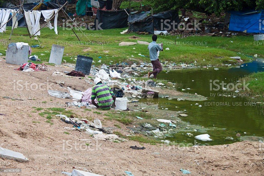 slum in Ahmedabad stock photo