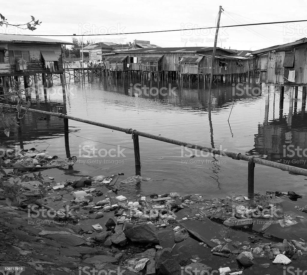 Slum in Borneo Malaysia stock photo