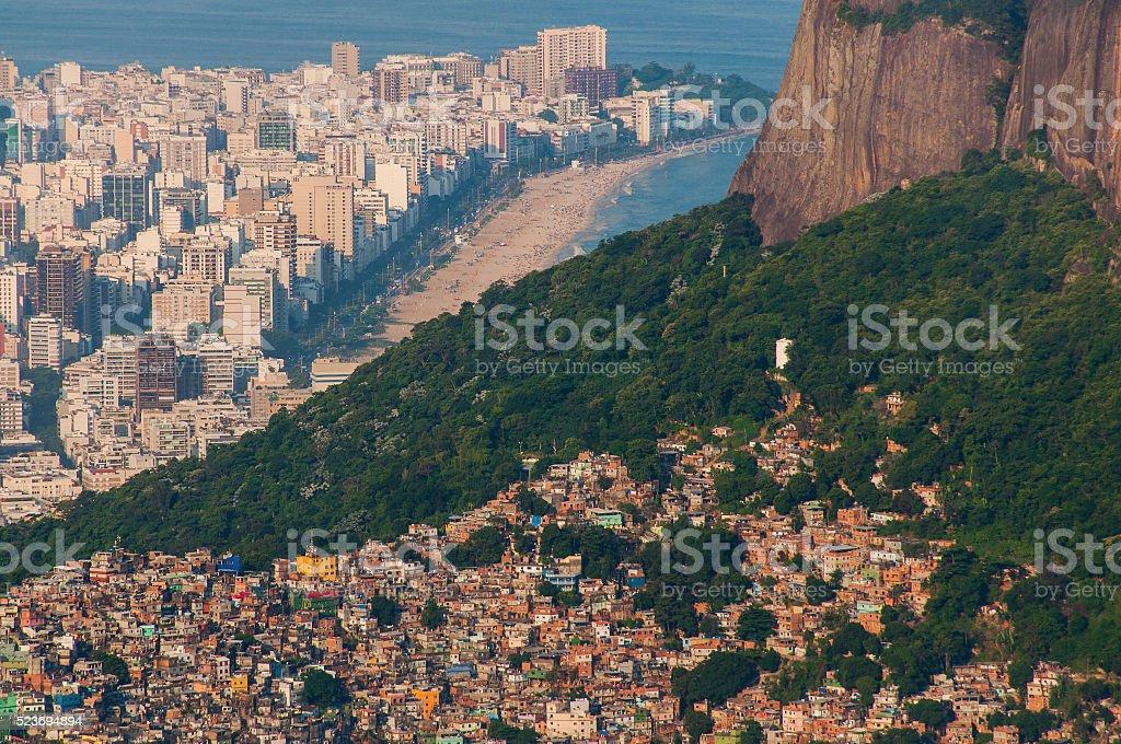 Slum Rocinha and Aerial Rio de Janeiro stock photo