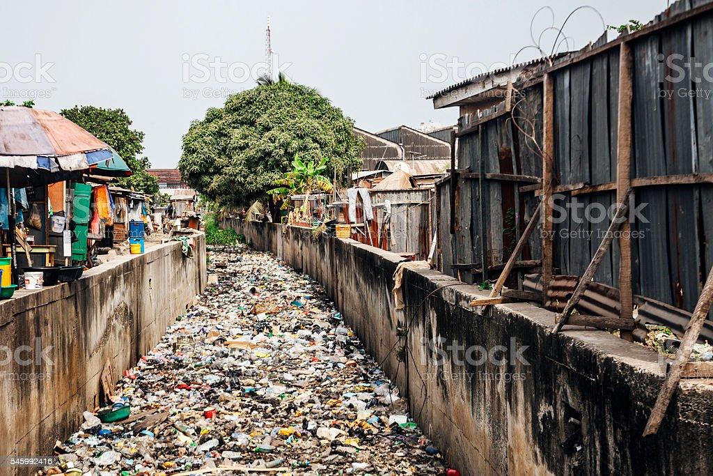 Slum streets, lots of garbage. Lagos, Nigeria. stock photo