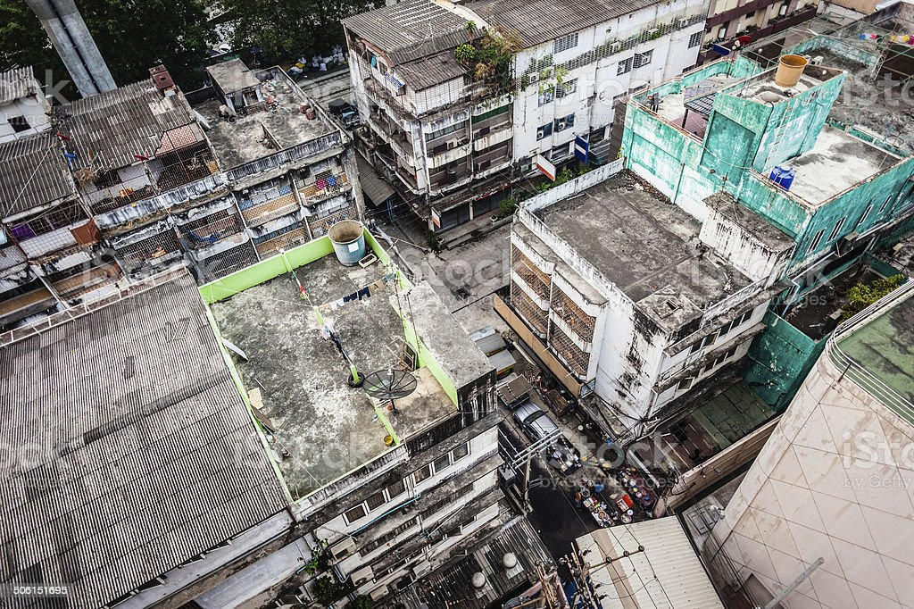 Slums in Bangkok royalty-free stock photo