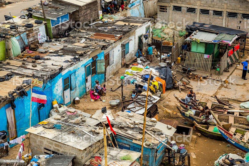 Slums in Cape Coast stock photo