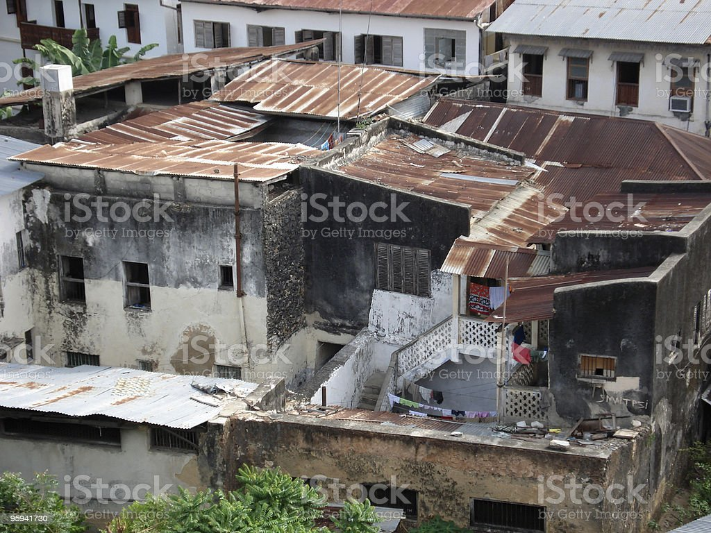 slums in Stone Town stock photo
