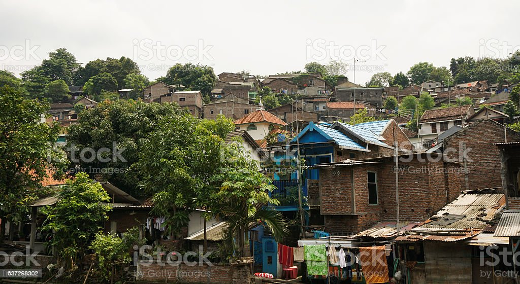 Slums on top of a hill with bush photo taken stock photo