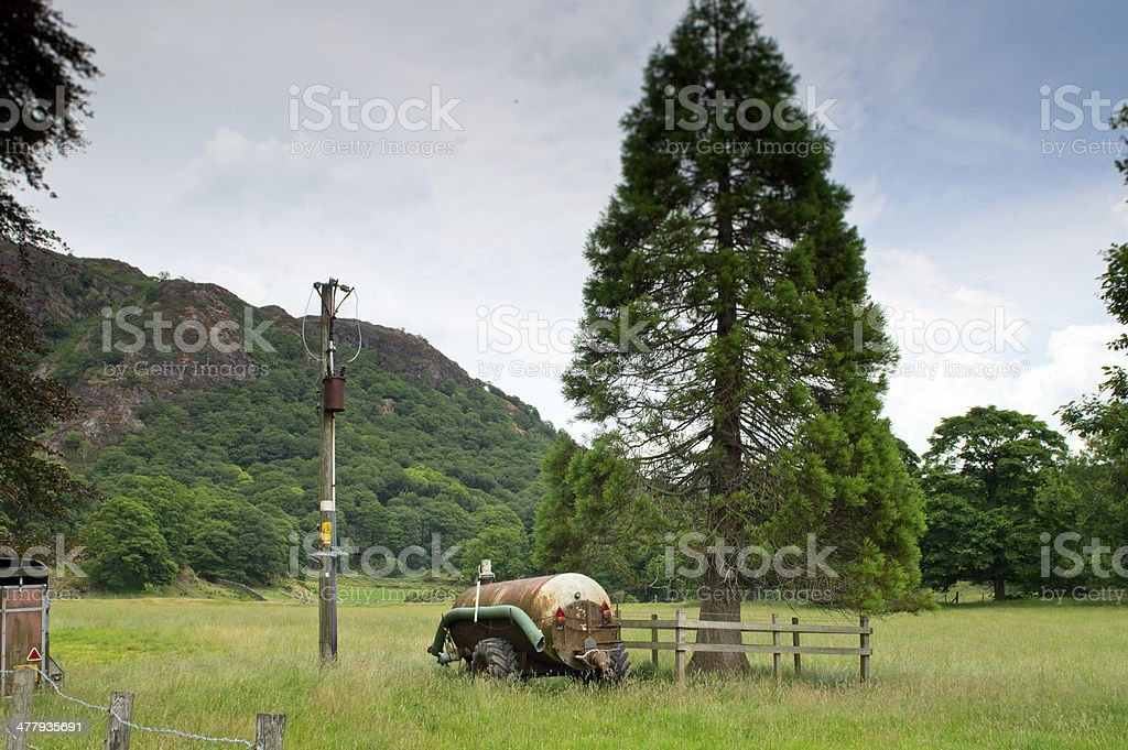 Slurry tank in the Lake District stock photo