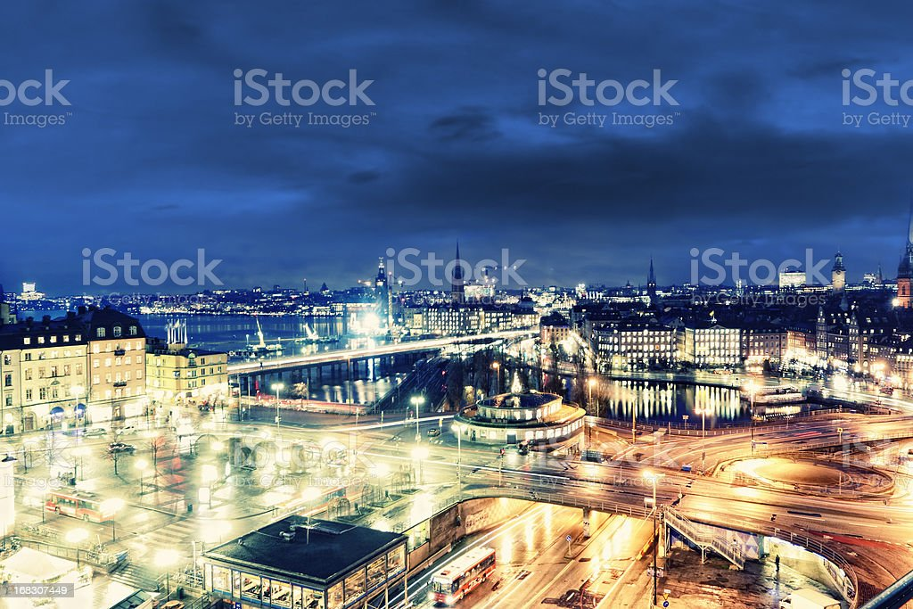 Slussen Bird's Eye, Stockholm stock photo