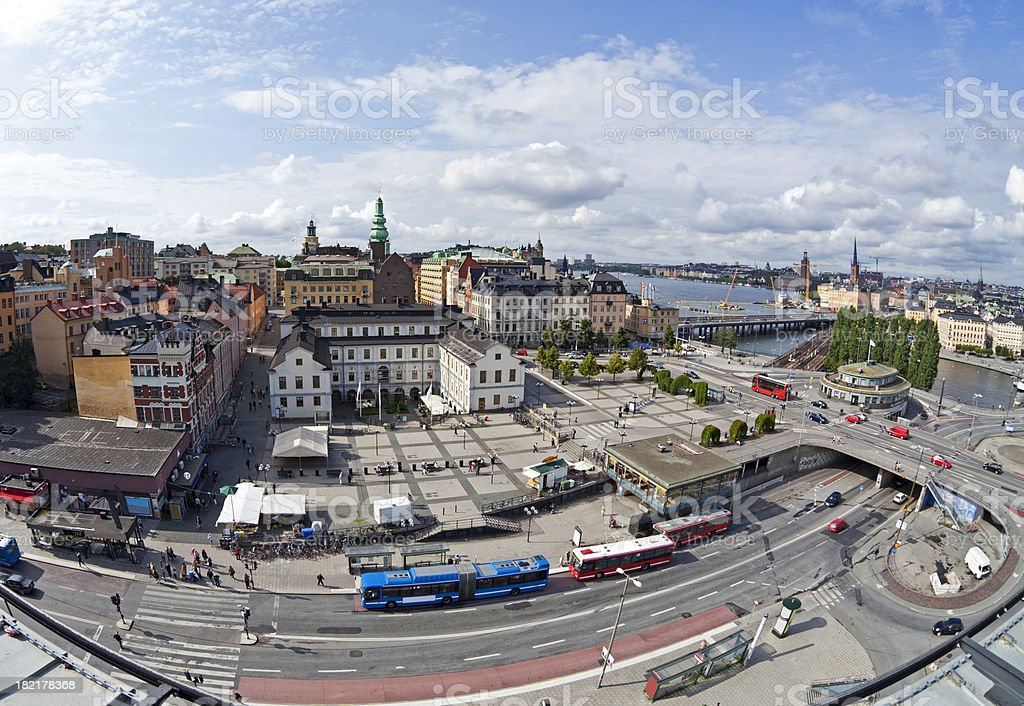 Slussen with Stockholm City Museum, Sweden. Fisheye lens. royalty-free stock photo