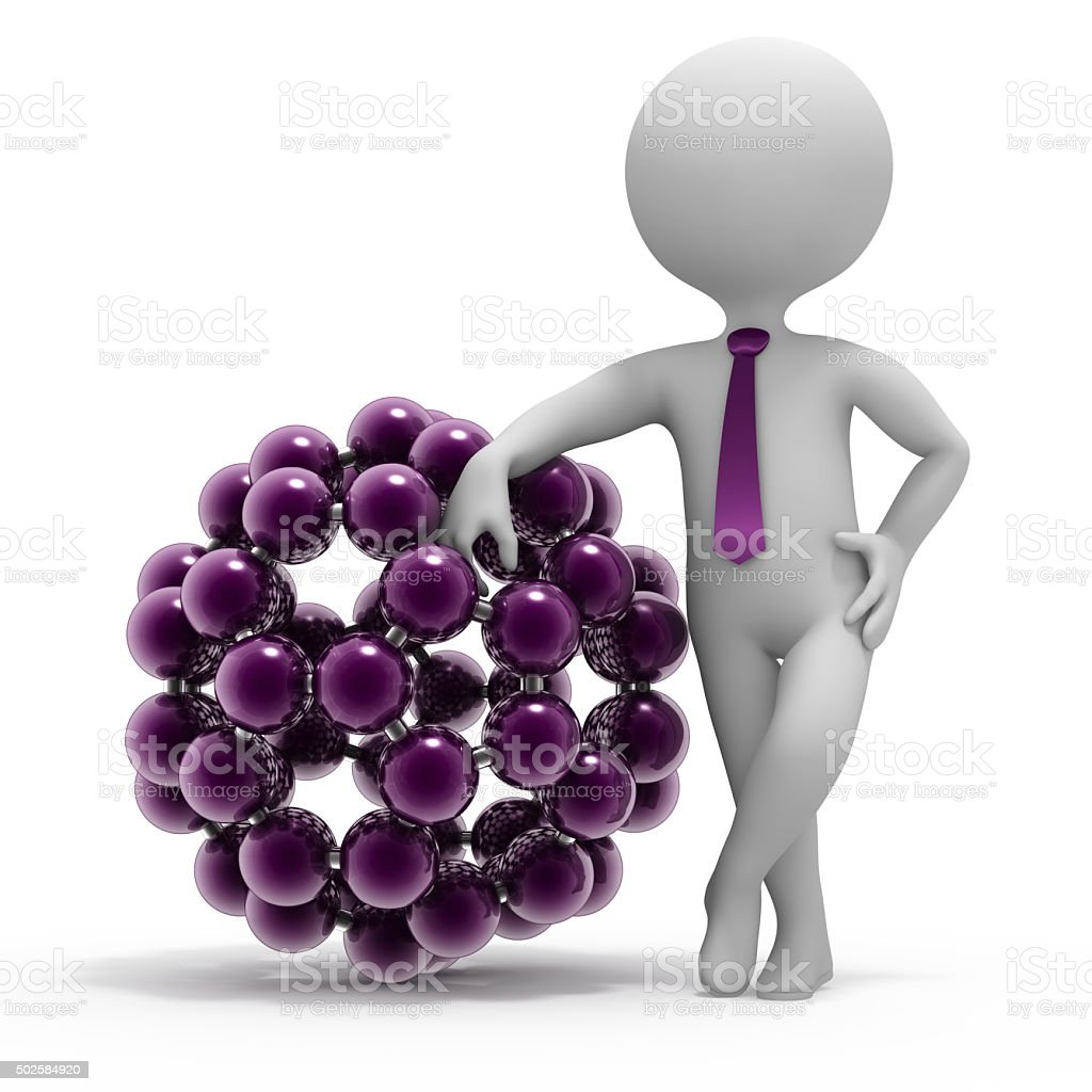 Small 3d man and fulleren molecule structure stock photo